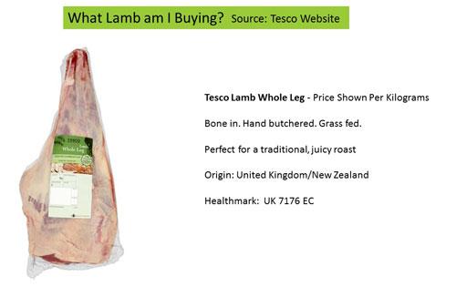 Description of lamb  Source: Tesco's website