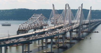 June 29,2018- Tappan Zee Bridge – Work on the new twin-span bridge continues as the old bridge's main span is dismantled. -  https://www.newnybridge.com/photo/