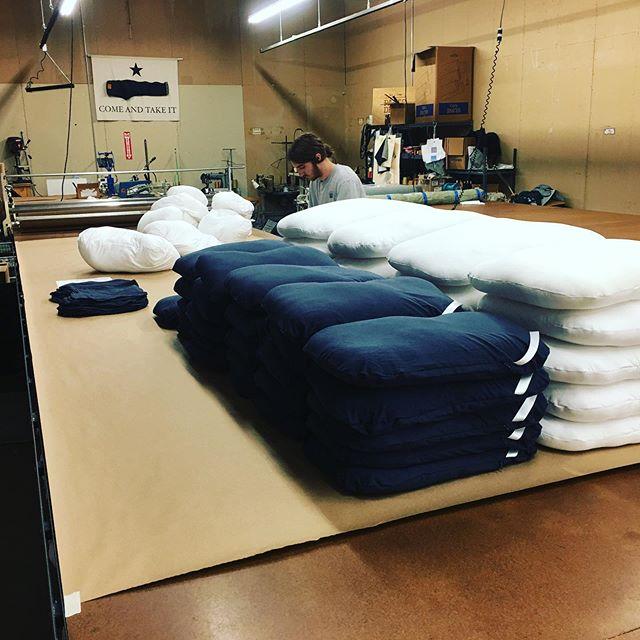 Making all the pillows! #stitchtexas #pillows #sleepcrown #madeintexas #madeinusa #manufacturing