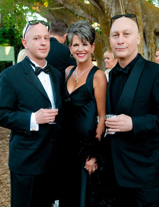 David Lee Holland and Yanni Kyriazis with Sally Schule  Platinum Sponsors, Orchid Ball, Marie Selby Gardens, April 2011