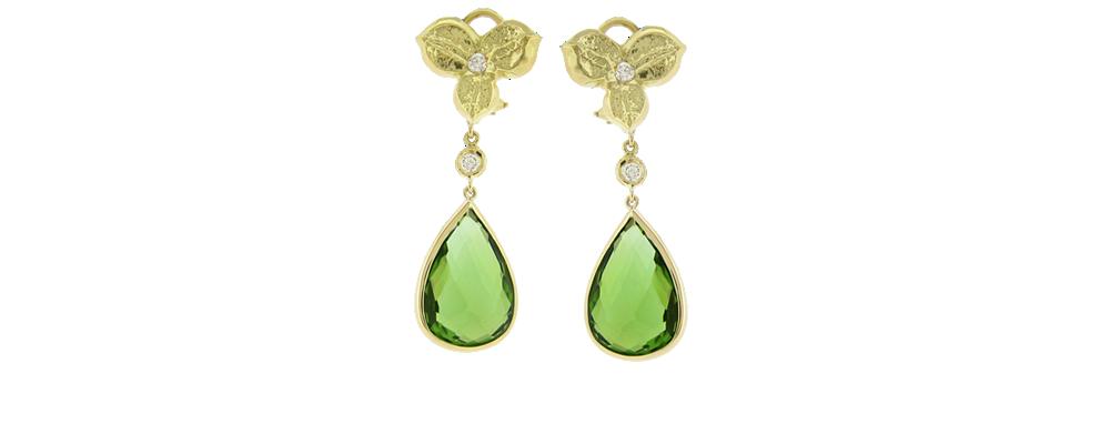 3 Petal Earrings with Natural Color Kashmiri Peridot and Diamonds