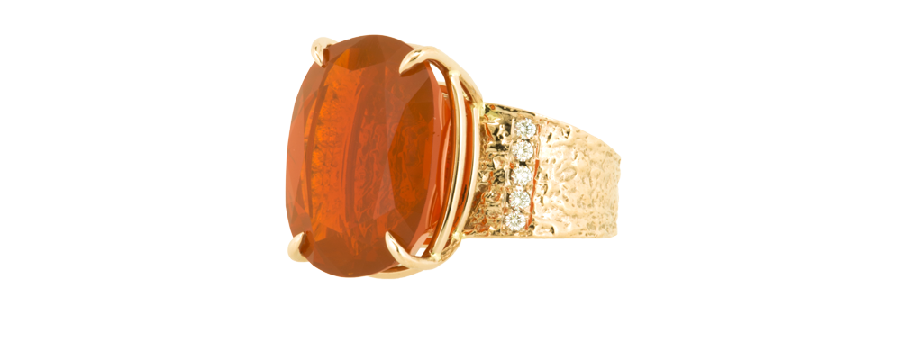 Mimosa Bark Ring with Natural Color Cherry Mexican Fire Opal and Diamonds