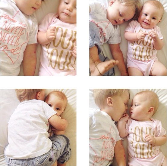 @mimosabyme's two little monkeys in our Never Never Land Kid's Tee + Oui Oui Onesie