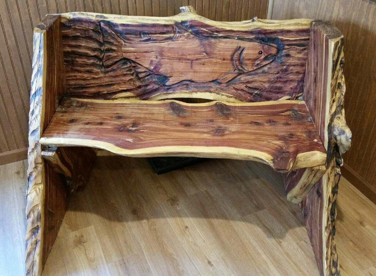 17 Auction Item: Custom bench with artist carving