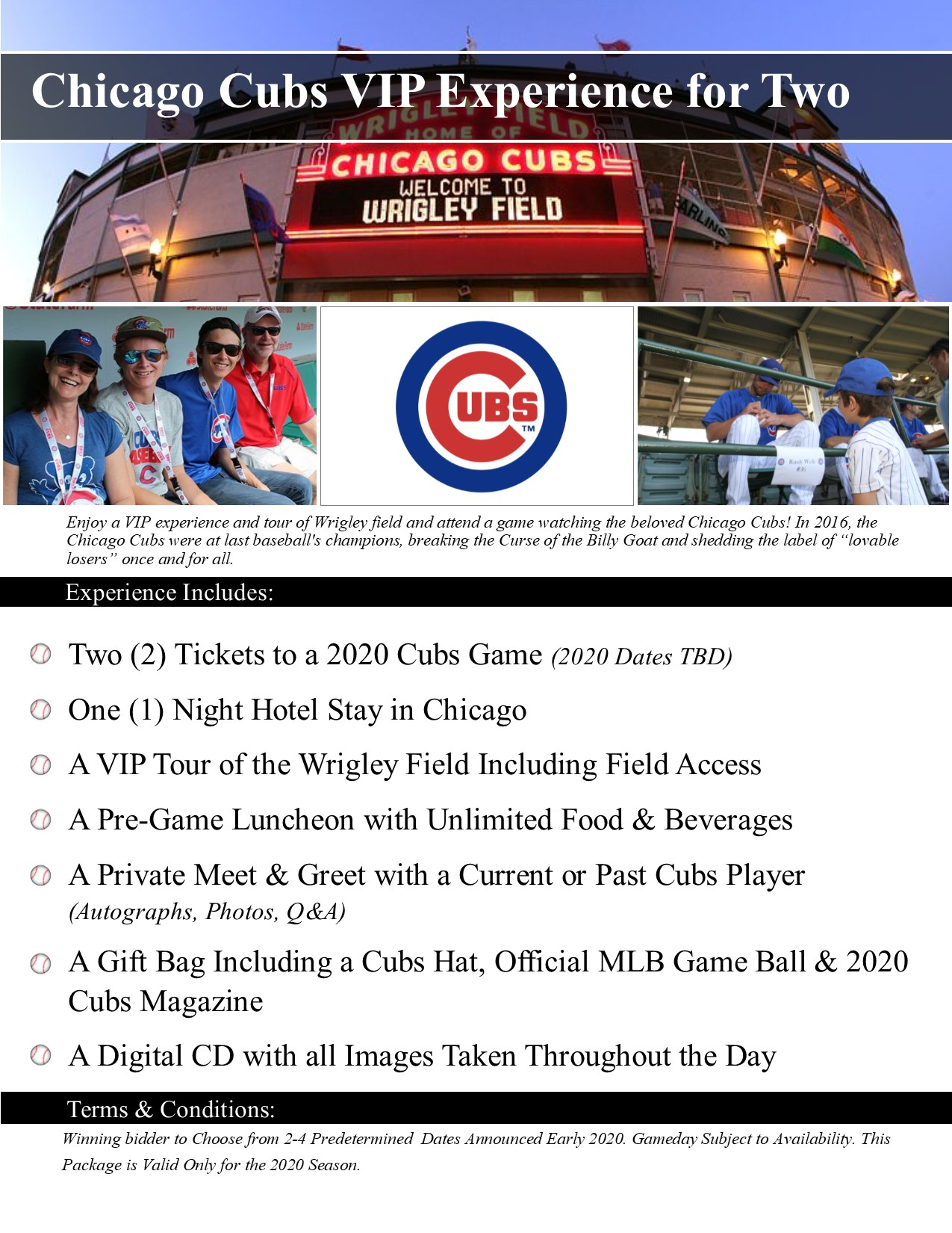 2020 Cubs VIP package for 2 people -