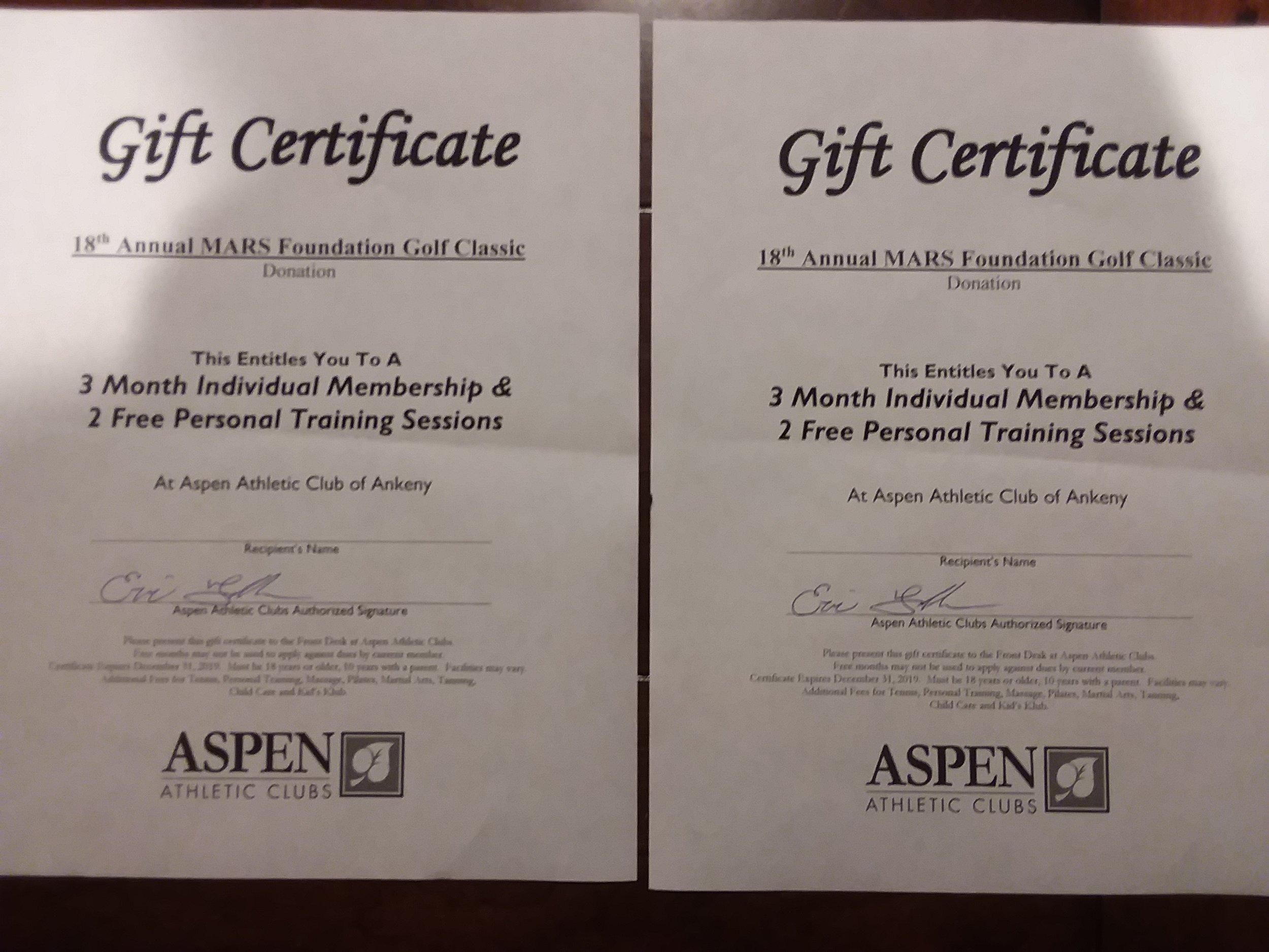 Aspen gym membership -