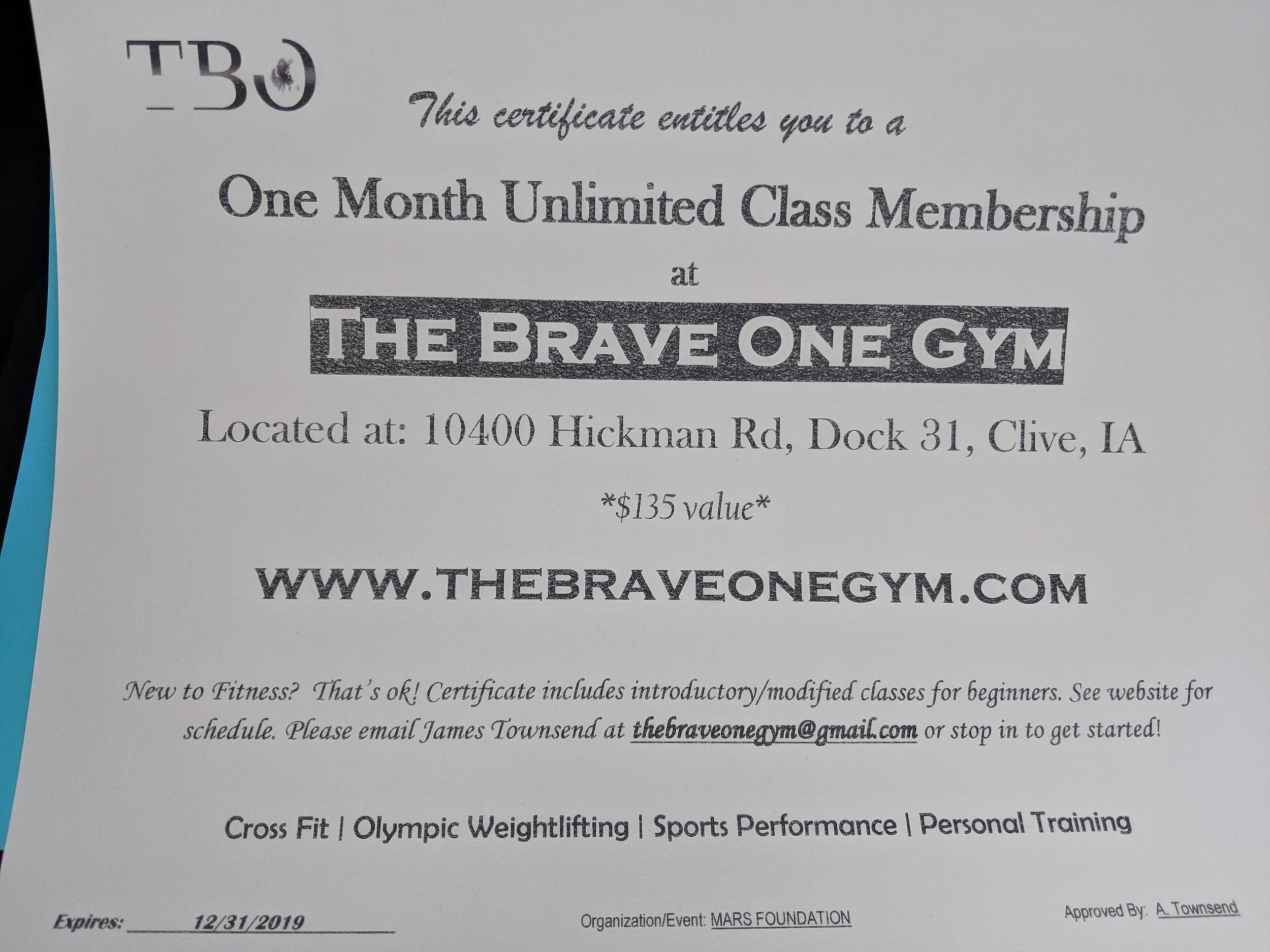 Brave One Gym Membership -