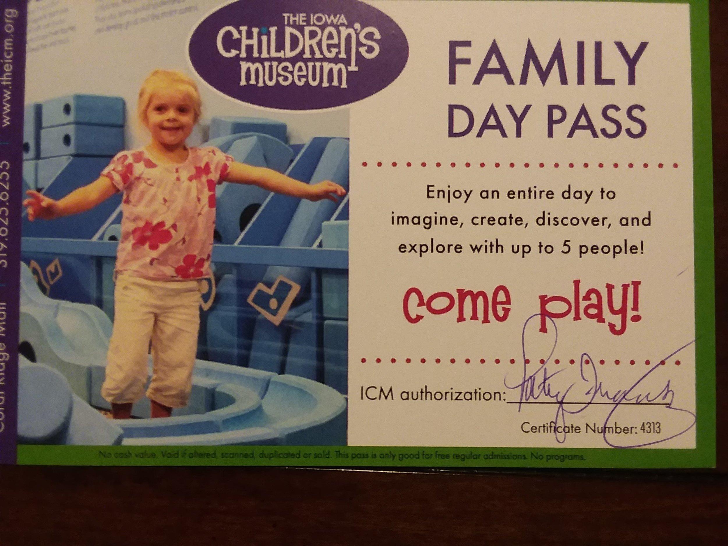 Family Pass to Iowa Children's Museum -