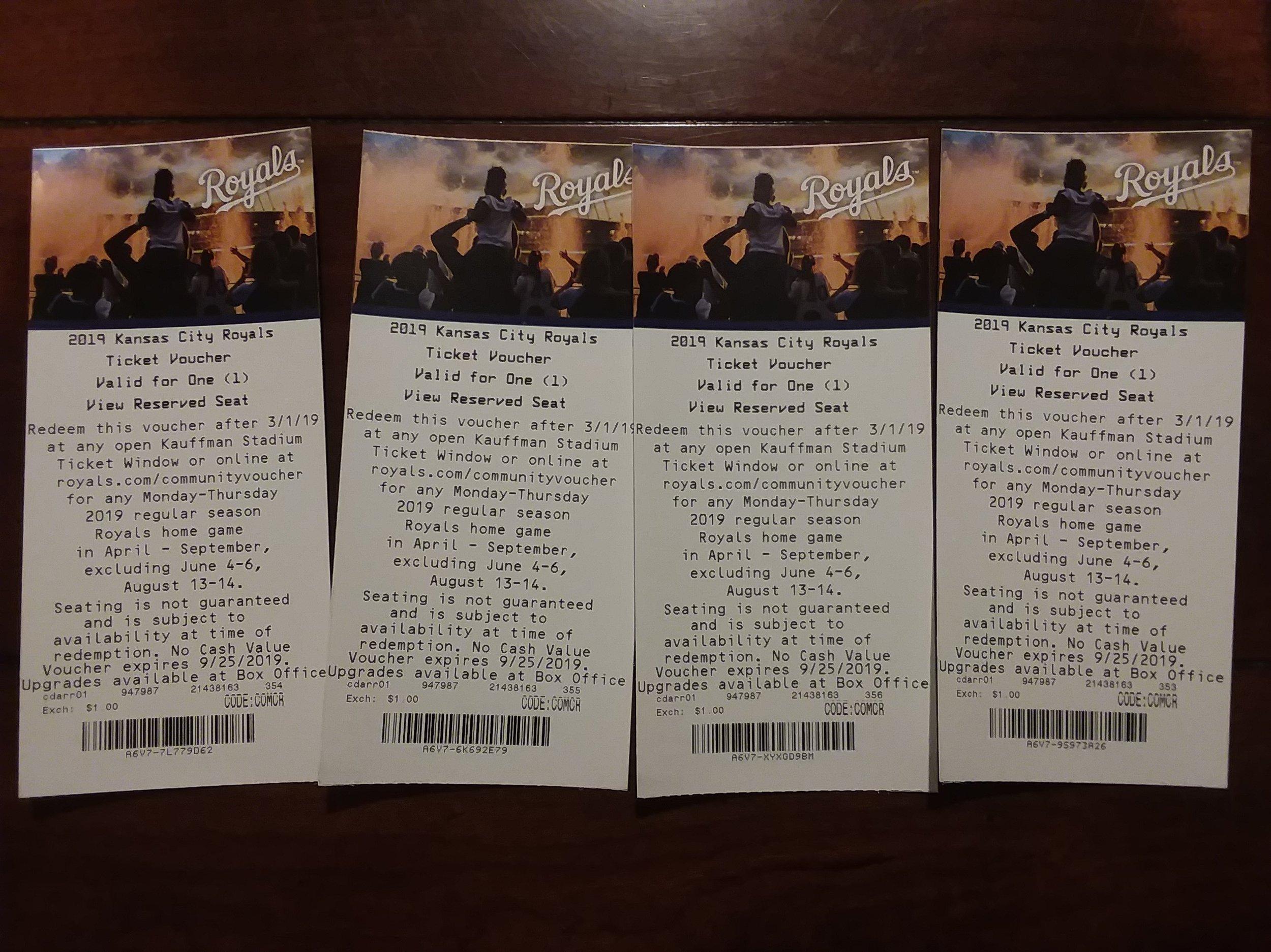 4 KC Royals tickets -