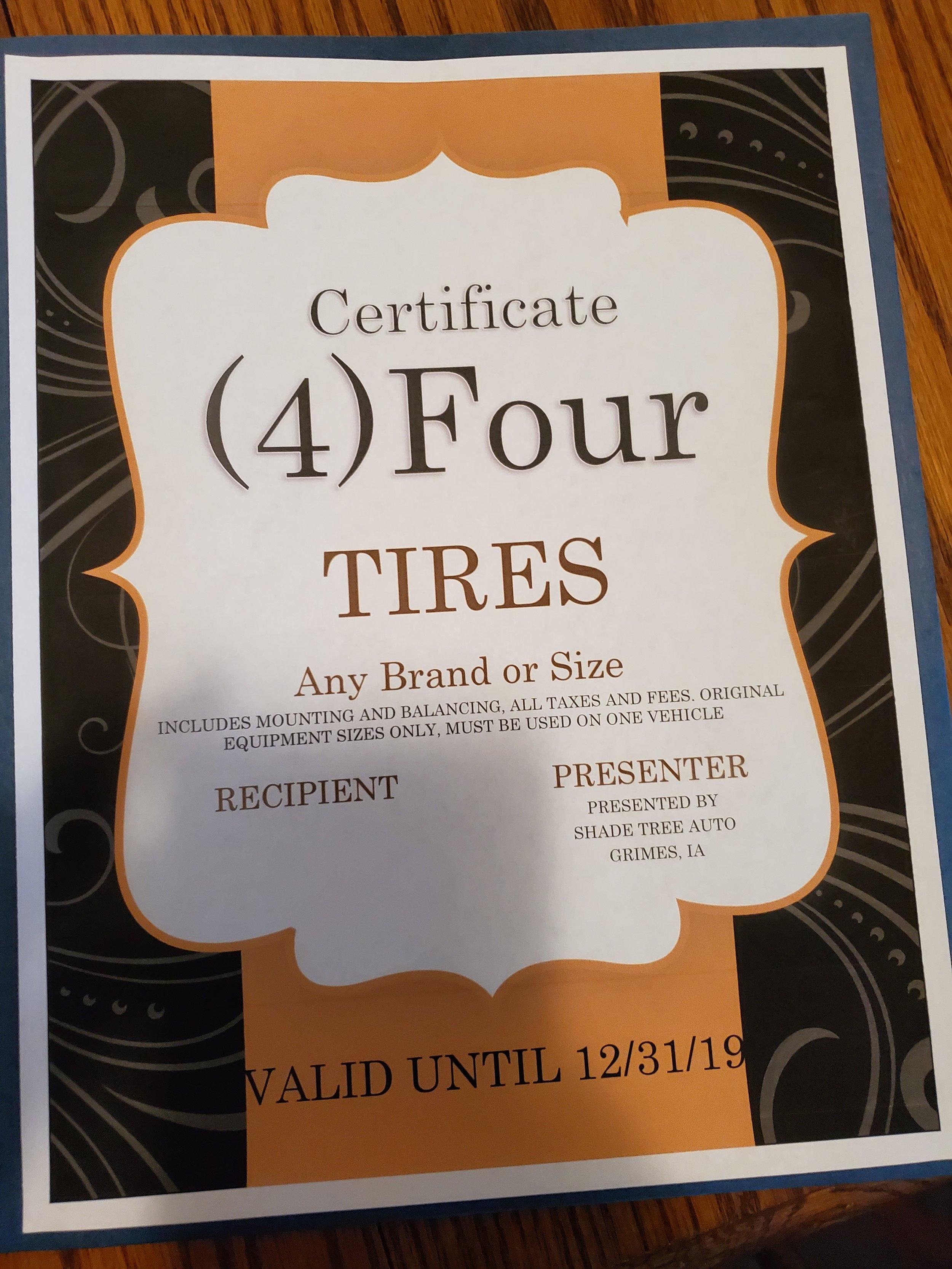 4 tires from Shade Tree Auto -