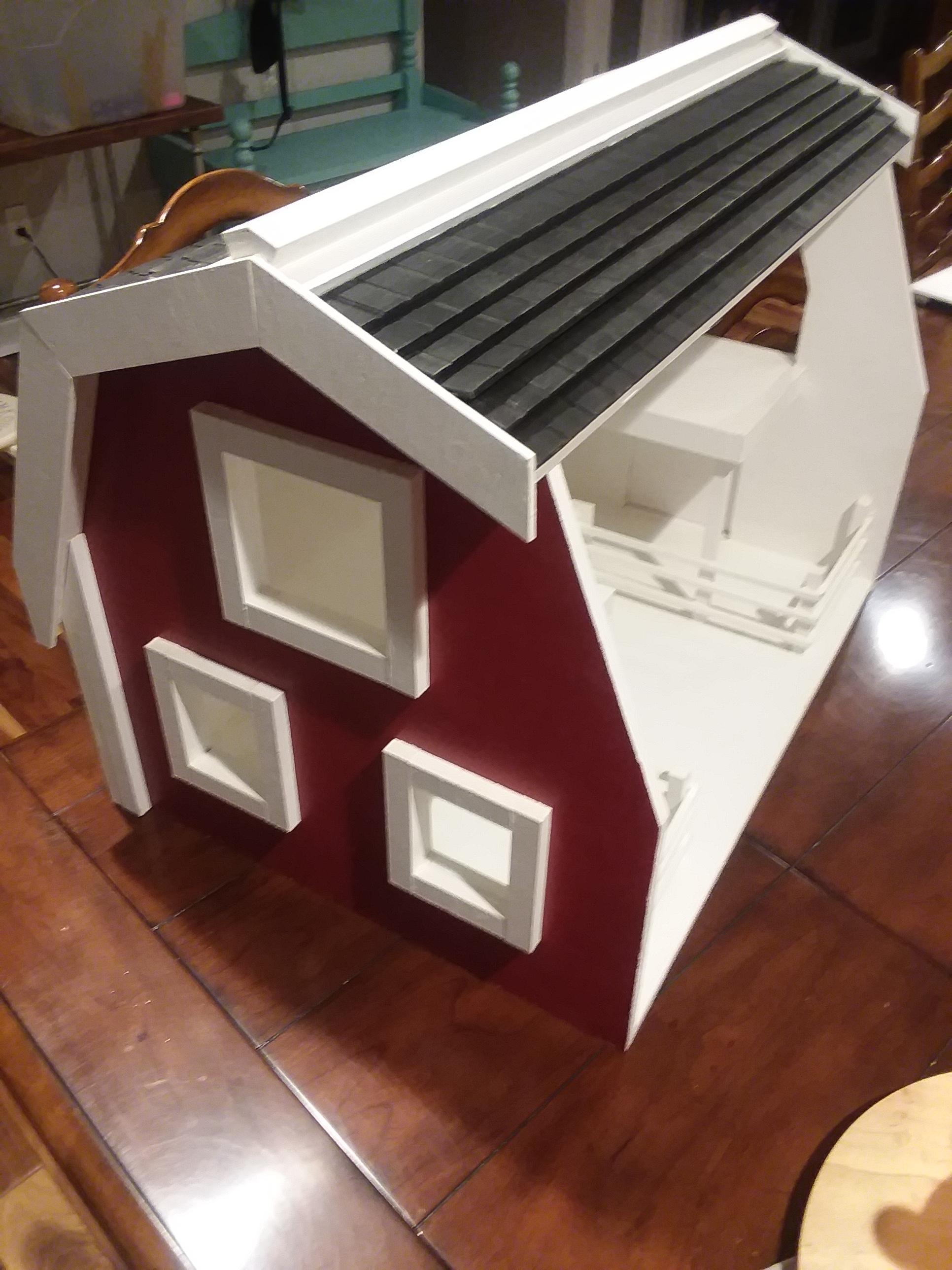 Wood toy barn -