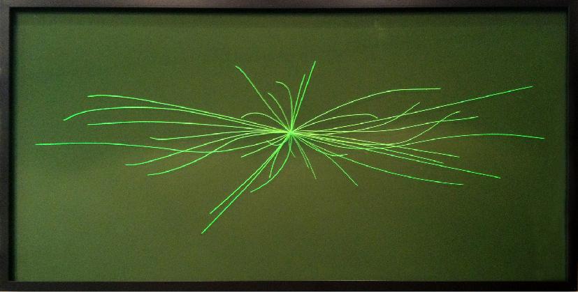 Plinio Avila    Bosón de Higgs (La Partícula de Dios)   Grabado con láser sobre acrílico