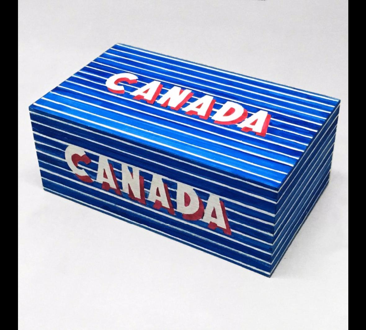 Humberto Marquez   Canada Shoebox, 1964  Madera sólida, pintura acrílica, pigmento de grana cochinilla y añil  (Frieze)