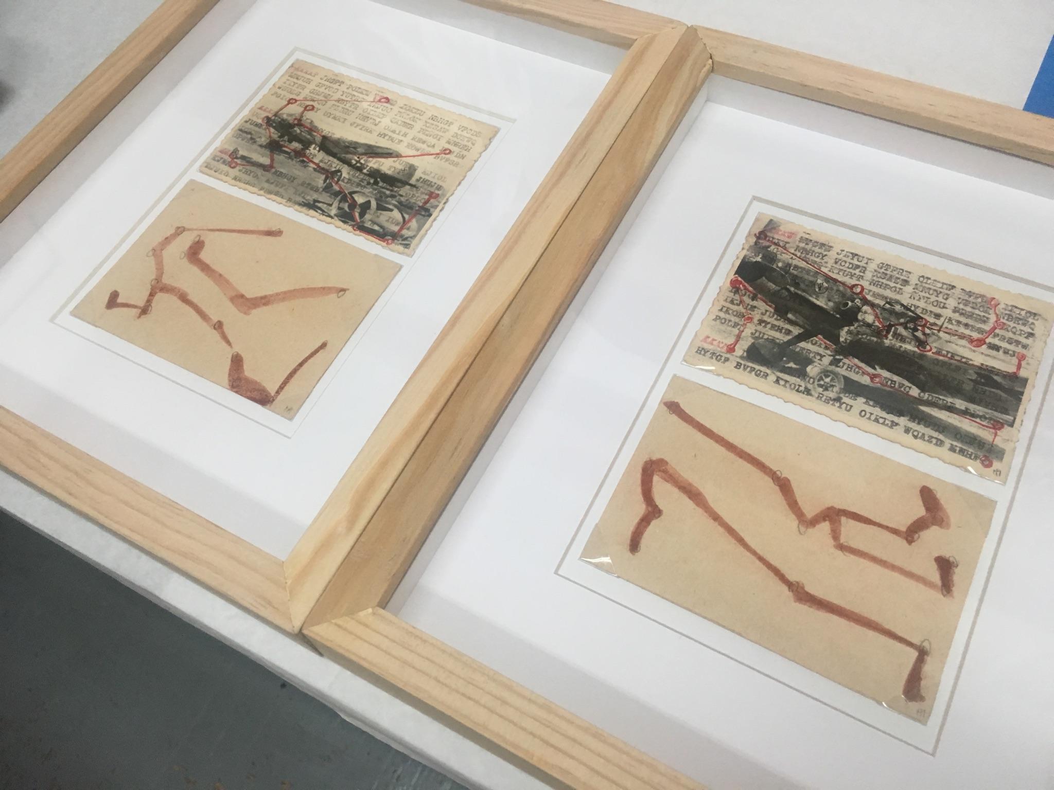 Humberto Márquez Fotografías originales de la Segunda Guerra Mundial intervenidas con código y posibles bocetos.
