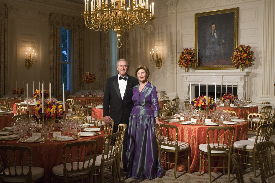 2006 - President George W Bush and Mrs Laura Bush pose in the State Dining Room prior to a dinner in honor of the president of Ghana
