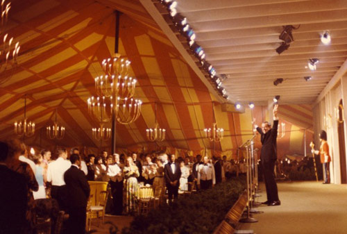 """1973 - """"Remarks at a Reception for Returned Prisoners of War"""" (Nixon). This dinner was actually in a tent outside the White House."""