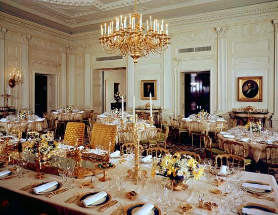 1962 - State Dining Room set for a dinner during the Kennedy administration; random fact - the china is from the Truman administration. (Photo by George Mobley)