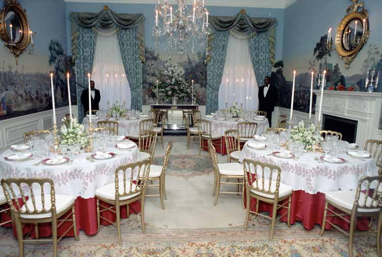 1981 - Table settings in the President's Dining Room for the Prince of Wales Prince Charles' private dinner. (Reagan Library)