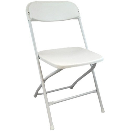 Spruce Rentals White Plastic Folding Chair for Wedding