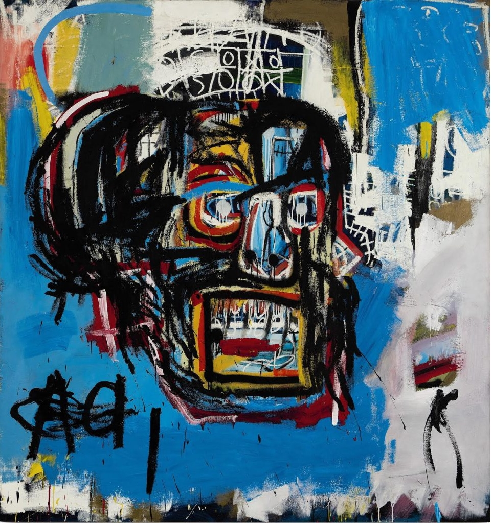 """""""Untitled,"""" Jean-Michel Basquiat's 1982 painting of a skull bought by Yusaku Maezawa for $110.5 million at Sotheby's contemporary art auction in New York."""