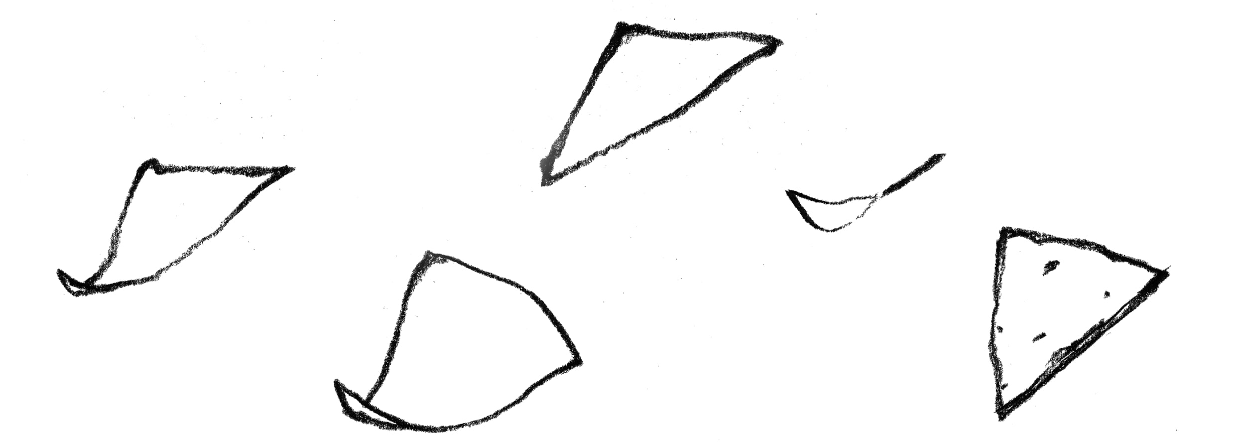 variety hand drawings of a corn chip for a salsa company