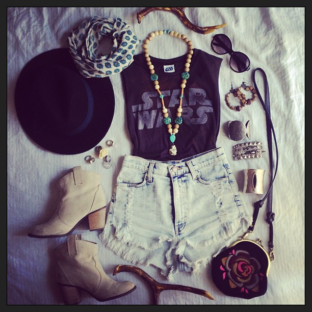 Tee, hat & scarf: Forever21 | Shorts: A'gaci | Booties: TJMaxx | Necklace & rings: Her Sister's Closet | Purse: Gifted from a friend | Bracelets & earrings: my old jewelry archive box