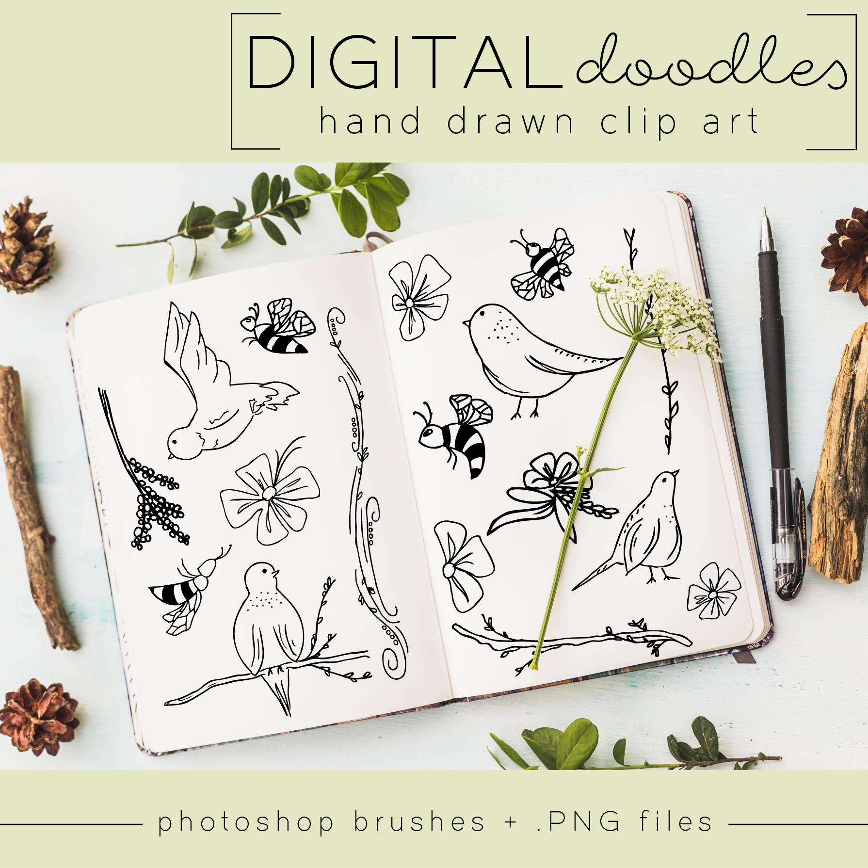 twgdesigns-handdrawn-doodle-clipart-art-illustration-digital-download-birds-bees-scrapbook-etsy-shop-boho-animals