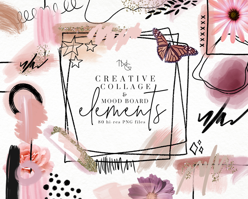 graphic design collage mood board vision board clip art elements brush strokes glitter graphics doodle illustrations the weekend gypsy twg designs.jpg