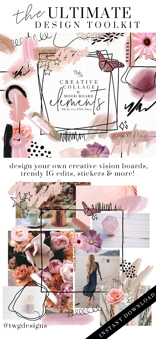 graphic design visual arts collage mood board vision board clip art elements brush strokes glitter graphics doodle illustrations the weekend gypsy twg designs.jpg