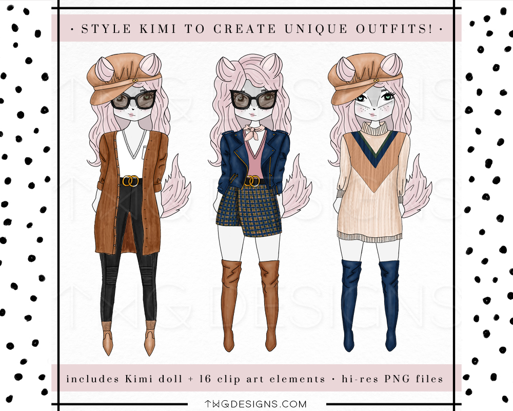 digital paper doll clip art clipart diy paper crafts scrapbooking digital art character doll fashionista fashion illustration girly fox kimi klose twg designs twgdesigns.jpg