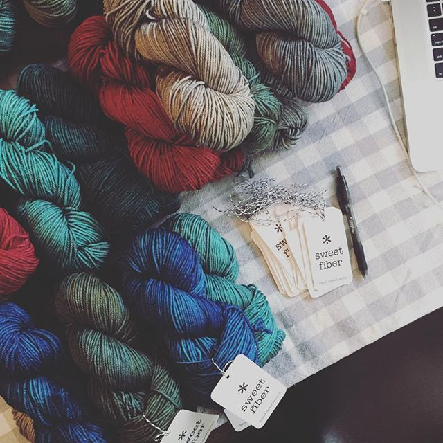 Getting the last of these Mystery Trios tagged and ready for a shop update this afternoon! Stay tuned ✨ #sweetfiberyarns #handdyedyarn #knittersofinstagram #dyersofinstagram #yarn #yarnlove #knitting