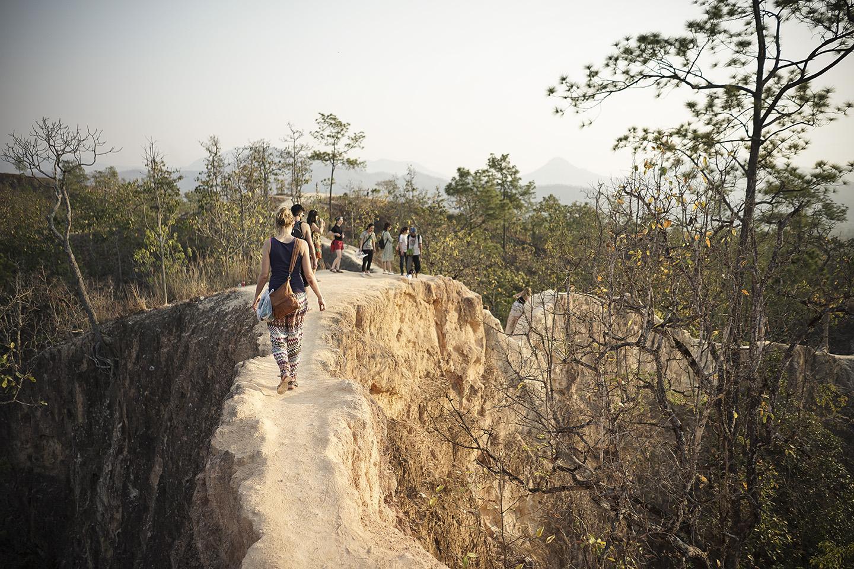 Anne and Soloman navigate the narrow ridge