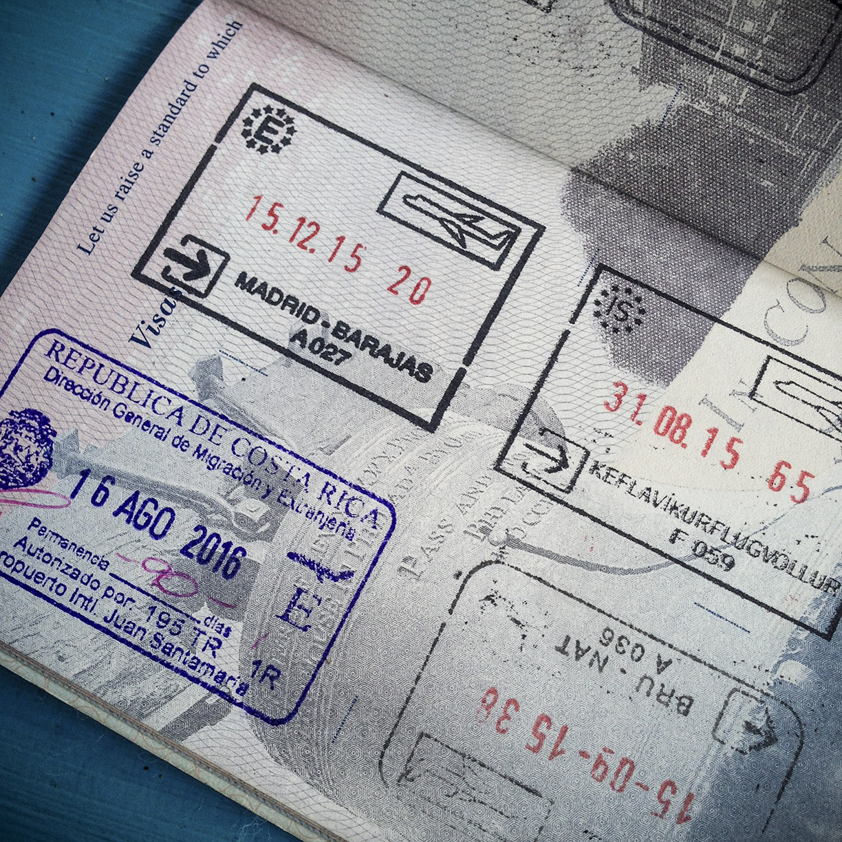 In the upper right hand corner,my very first passport stamp -in the lower left, my most recent.