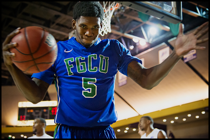 Florida Gulf Coast University's Jamail Jones reacts after missing a basket in the first half of their game against Lipscomb University during their game at Lipscomb in Nashville, TN on Thursday, February 27, 2014. FGCU would go on to loose 93-71. Photos by Brian Powers