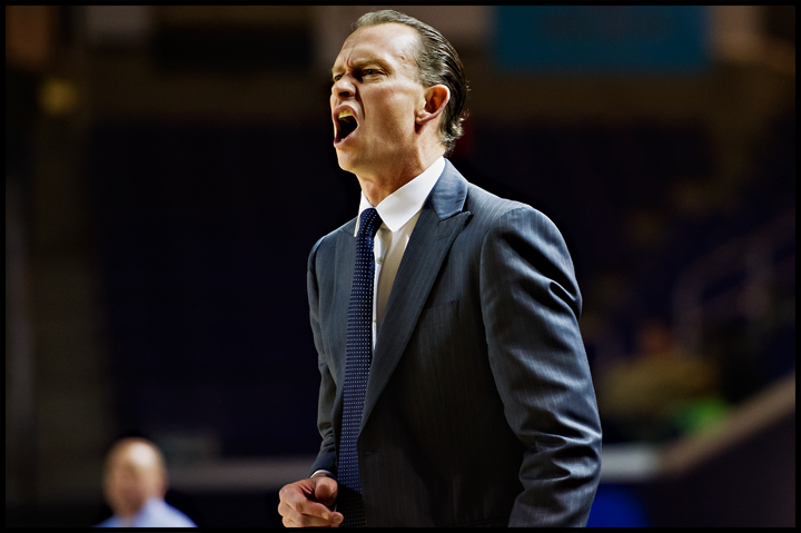 Florida Gulf Coast University coach Joe Dooley yells at the referee after a foul call in the second half of their game against Lipscomb University in Nashville, TN on Thursday, February 27, 2014. FGCU would go on to loose the game 93-71. Photos by Brian Powers