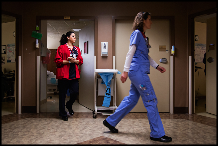 WKU non-traditional student Barbara Morrow, left, from Bowling Green, works with nurse Tonja Wilt of Bowling Green, right, at the Medical Center on Tuesday, February 18, 2014. Morrow, 32, is a second semester nursing student at WKU and said that since her children are getting older she now has time to get her nursing degree. Photos by Brian Powers