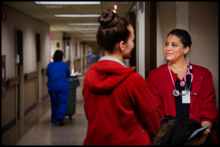 Barbara Morrow, 32 of Bowling Green, right, waits to begin her clinicals for the day on Tuesday, February 18, 2014 at the Medical Center in Bowling Green. Photos by Brian Powers