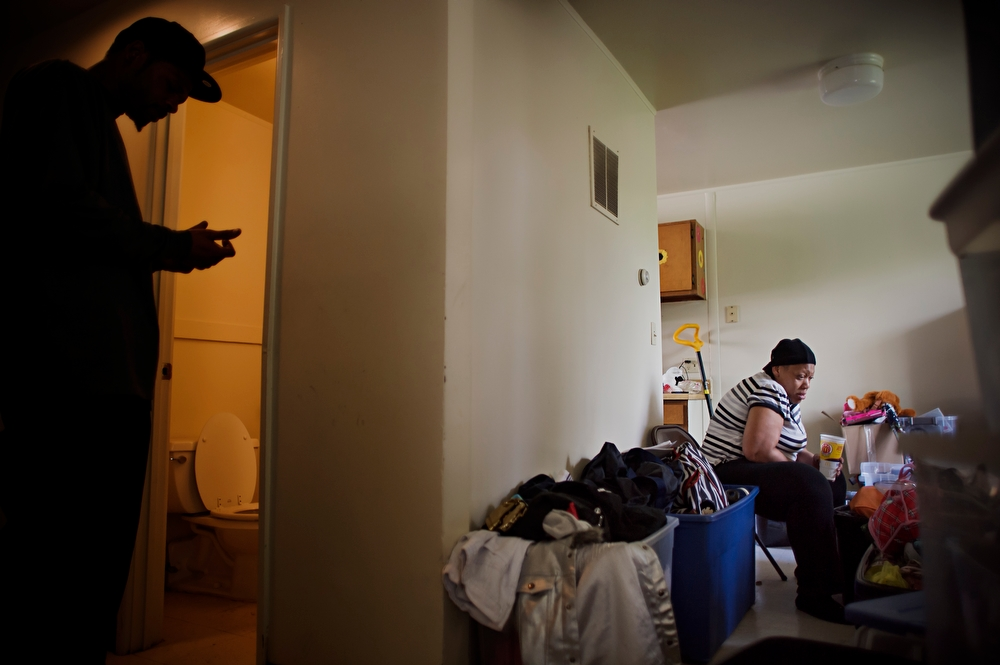 After being bounced from unit to unit, the last resident at Jericho Circle, Leticia Mendenhall, packs up her stuff as she is evicted from her apartment. Mendenhall is accused of stealing electricity and therefore not eligible to receive a housing voucher.