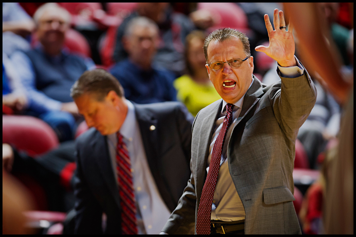 WKU coach Ray Harper calls out to his players as the Hilltoppers take on Murray State at E.A. Diddle Arena on Saturday, December 21, 2013. Western would go on to win their sixth straight home game 71-64. Photos by Brian Powers