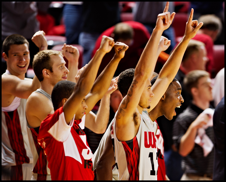 The WKU bench reacts after the Hilltoppers defeated Southern Miss 68-65 at E.A. Diddle Arena on Wednesday, December 18, 2013. Photos by Brian Powers