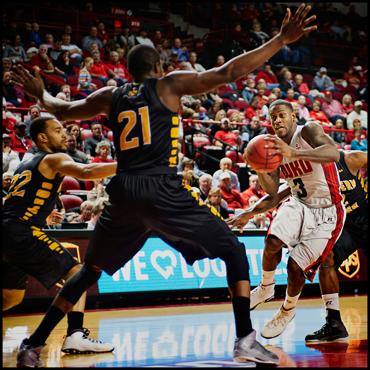 WKU's Trency Jackson drives to the net as the Hilltoppers take on Southern Miss at E.A. Diddle Arena on Wednesday, December 18, 2013. Photos by Brian Powers