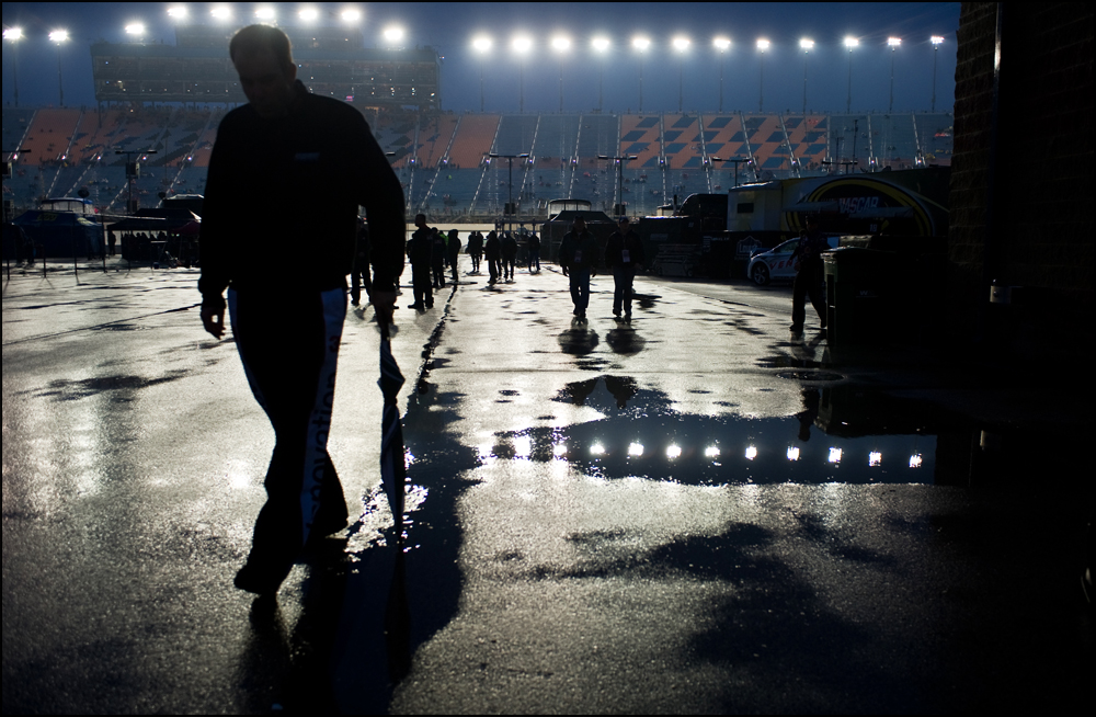 Rain continues to fall at Chicagoland Speedway in Joliet, Ill on Sunday, September 18, 2011. The Geico 400, scheduled to start at 1:00 has been re-scheduled until Monday morning at 11 am.   Brian Powers~Sun-Times Media