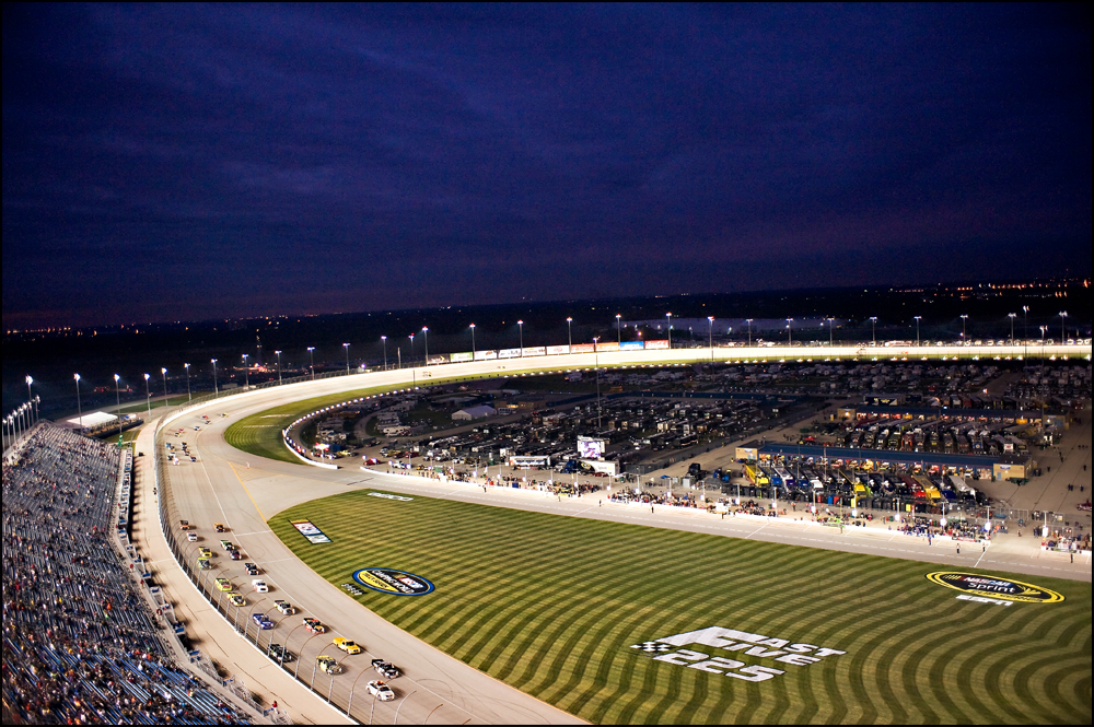 Racers come around the final turn before starting the NASCAR Camping World Truck Series at Chicagoland Speedway in Joliet, Ill on Friday, September 16, 2011.   Brian Powers~Sun-Times Media