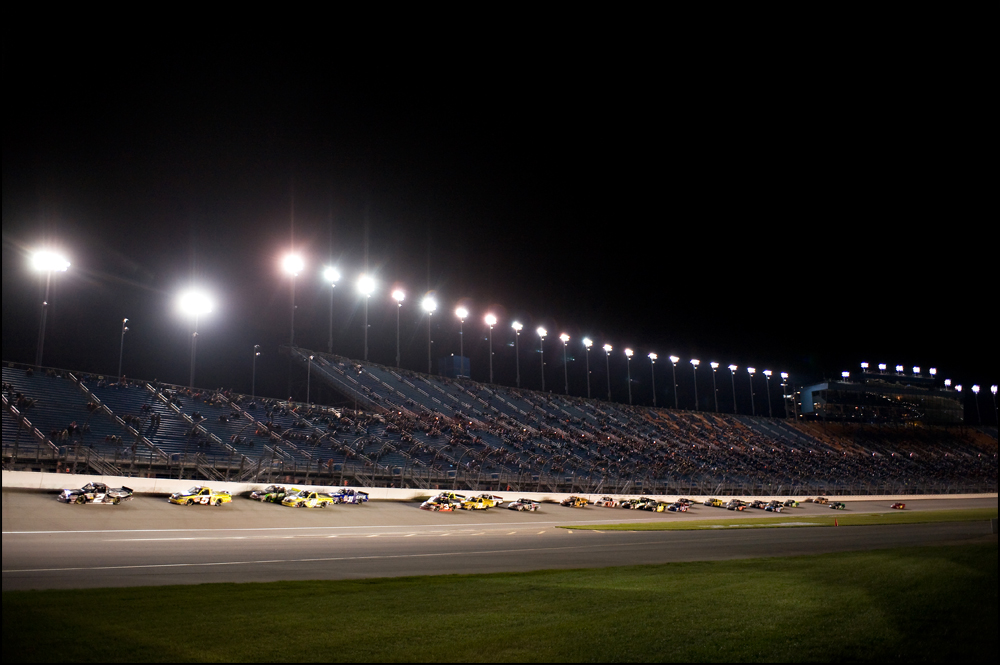 Drivers prepare to enter turn one during the NASCAR Camping World Truck Series at Chicagoland Speedway in Joliet, Ill on Friday, September 16, 2011.   Brian Powers~Sun-Times Media