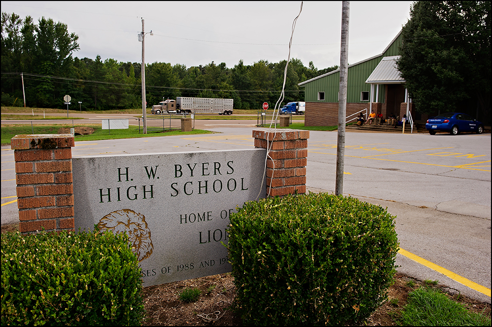 The sign in front of H.W. Byers High School welcomes visitors to the school in Holly Springs, Miss. on Monday, August 11, 2014. Photos by Brian Powers