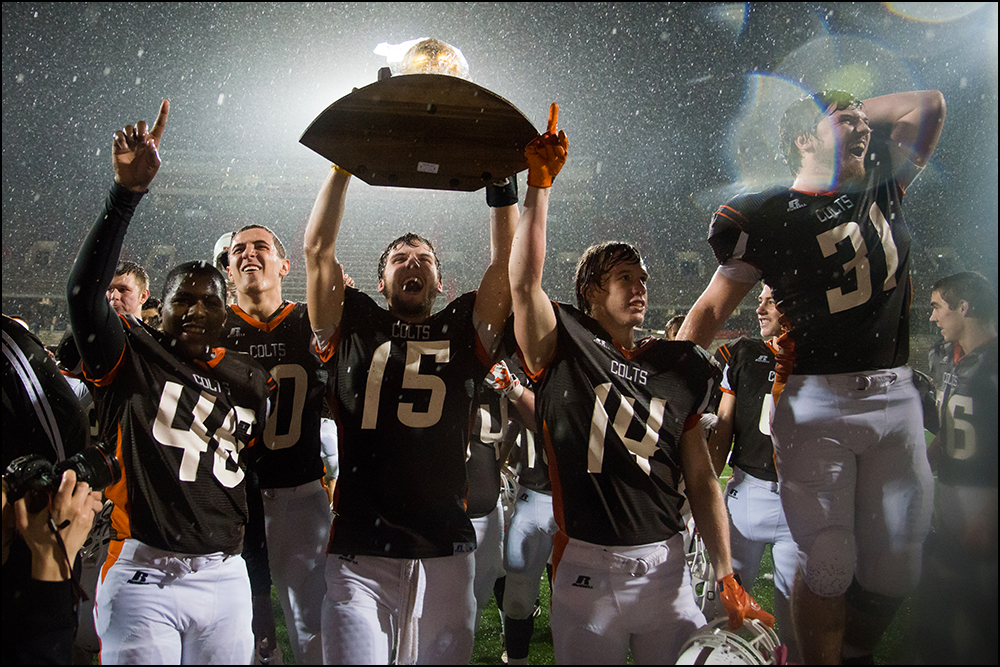Desales celebrates their 26-0 victory over Newport Central Catholic to win their second KHSAA Commonwealth Gridiron Bowl in a row at Western Kentucky University on Friday, December 5, 2014. Photo by Brian Powers