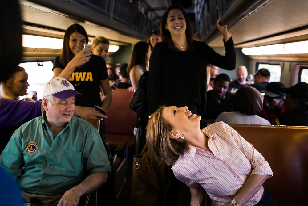 Republican Presidential hopeful Carly Fiorina  rides the Hawkeye Express train to tailgate before the Hawkeyes game against North Texas on Saturday, September 26, 2015.