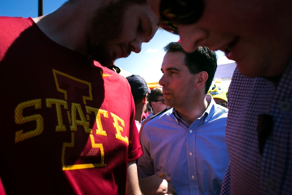 Republican Presidential candidate Scott Walker campaigning during the tailgate before the Cy-Hawk game at Iowa State University in Ames on Saturday, September 12, 2015.