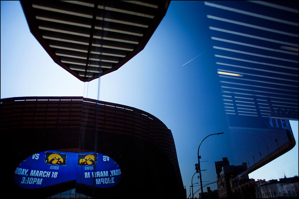 The Iowa Hawkeyes logo is displayed outside the Barclays Centre previewing their matchup against Temple on Thursday, March 17, 2016 in New York City, New York.