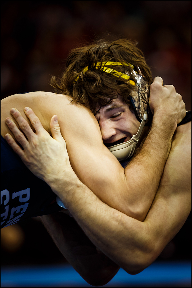 Iowa's Thomas Gilman wrestles Penn State's Nico Megaludis at the NCAA wrestling championships in New York City on Saturday, March 19, 2015. Megaludis would go on to win the bout 6-3.